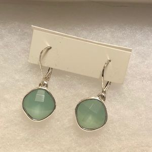 Nine West silver tone and greenish-blue earrings